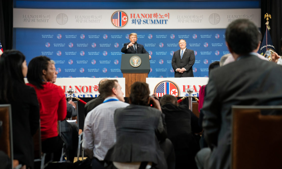 President Trump, joined by Secretary of State Pompeo, holds a news conference after his summit with North Korean leader Kim Jong Un, Feb. 28, 2019, in Hanoi. (Official White House Photo by Shealah Craighead)