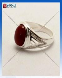 Aqeeq Stone Men Silver Ring
