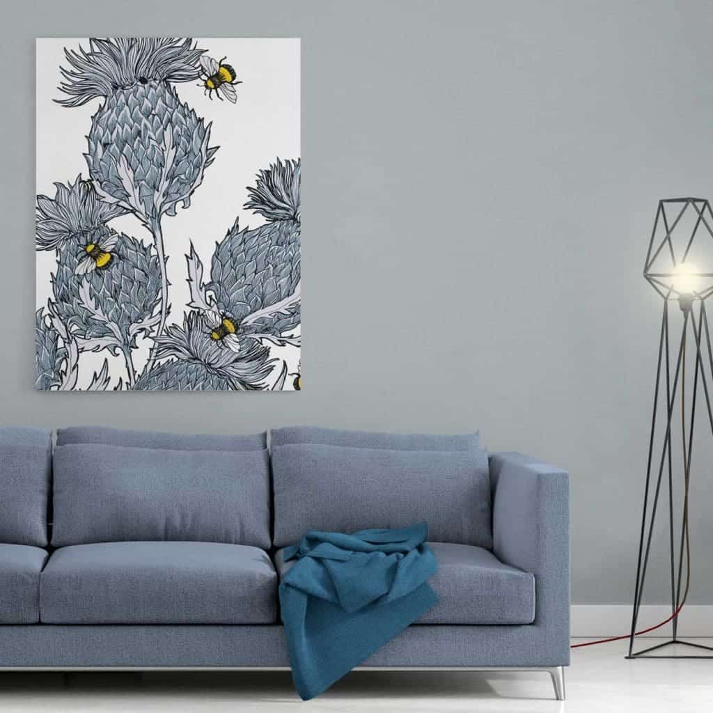 Gillian Kyle Scottish Wall Art Jaggy Thistles Silver