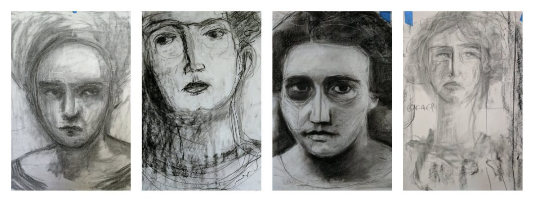 Gillian Lee Smith - Charcoal drawings by Angela Kennedy, Joan Tucker, Kara Strachan Bullock and Heather Laidlaw