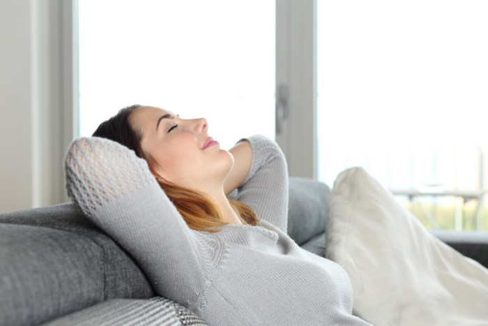 Picture: Happy relaxed woman resting on a couch at home