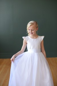 silk first communion dress, silk flower girl dress with