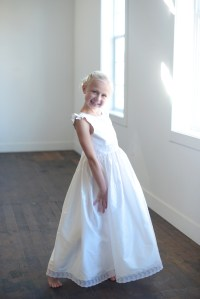 White first communion dress and flower girl dresses with