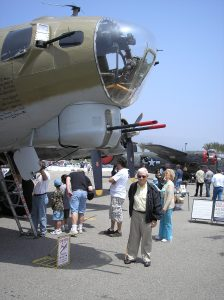 Gil gets to see a plane closeup at an airshow. A B17 Bomber just like the one that Gil rode in during World War II as a bombadier.
