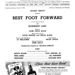 Inside the Playbill of the Broadway Play Best Foot Forward at the Ethel Barrymore Theater. Cast in Order of Appearance (Note that the Dances are directed by Gene Kelly)