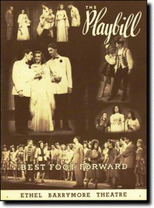 Playbill cover of the Broadway Play Best Foot Forward at the Ethel Barrymore Theater in New York City