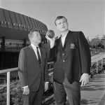 Gil Stratton and Dallas Long on THE SUNDAY SPORTS SPECTACULAR. Image dated January 12, 1961