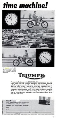 Gil shows off the Triumph Motorcycle and how it saves him time.