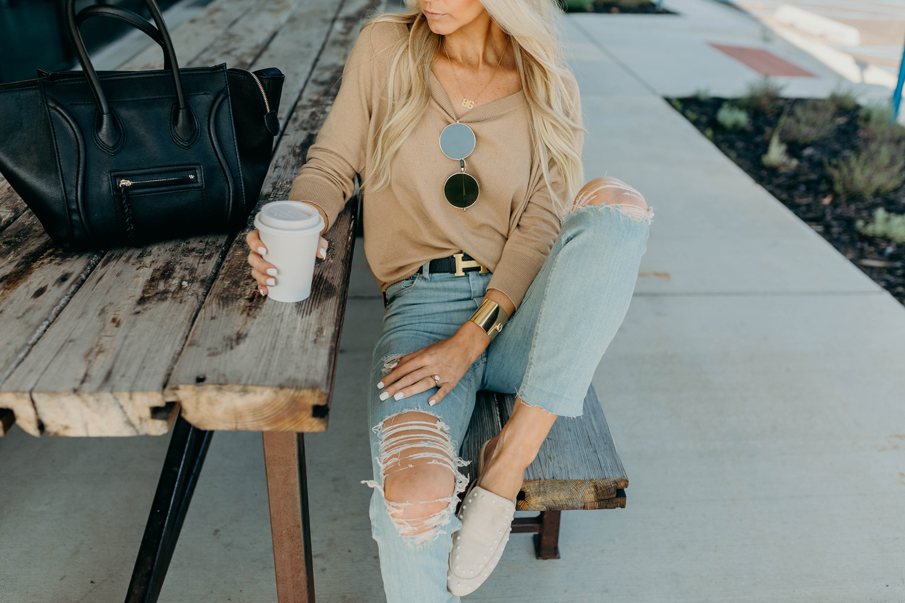 beige sweater, pearl loafers, fall outfit