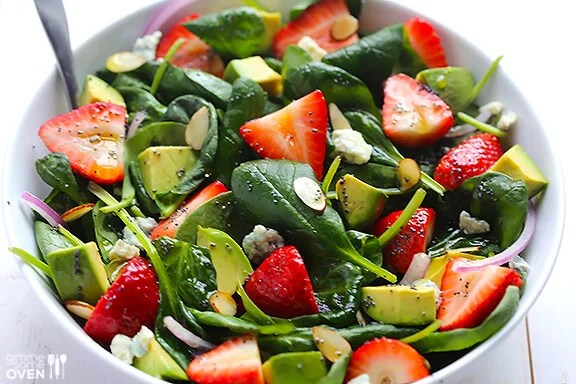 Healthy Recipes Salad with Spinach Strawberry Avocado Seeds Poppy Seed Dressing Tasty Salads