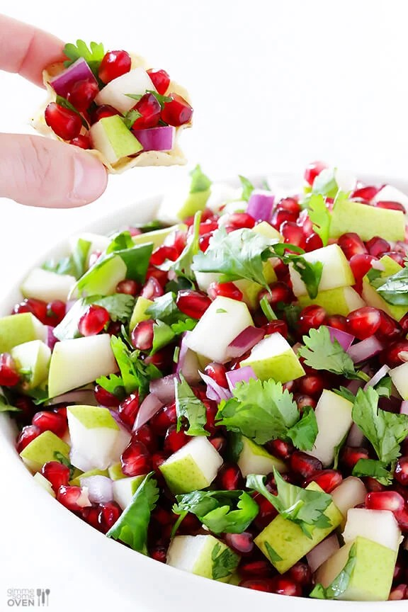 5-Ingredient Pear Pomegranate Salsa Recipe via Gimme Some Oven -- made with five fresh and tasty ingredients!