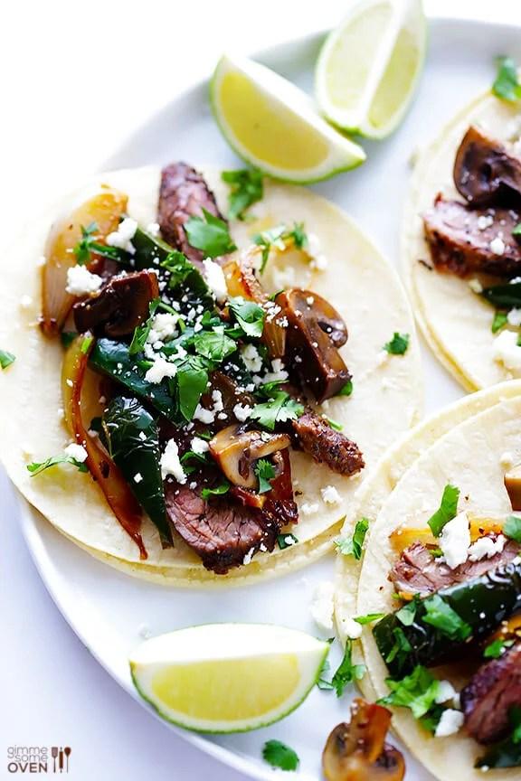 Steak, Poblano and Mushroom Tacos Recipe | gimmesomeoven.com #glutenfree #mexican
