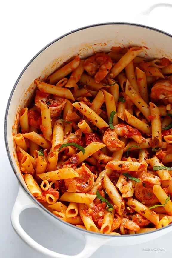 Shrimp Pasta with Creamy Tomato Basil Sauce  Gimme Some Oven