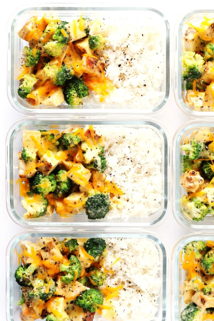 cheesy broccoli chicken and rice meal prep bowls