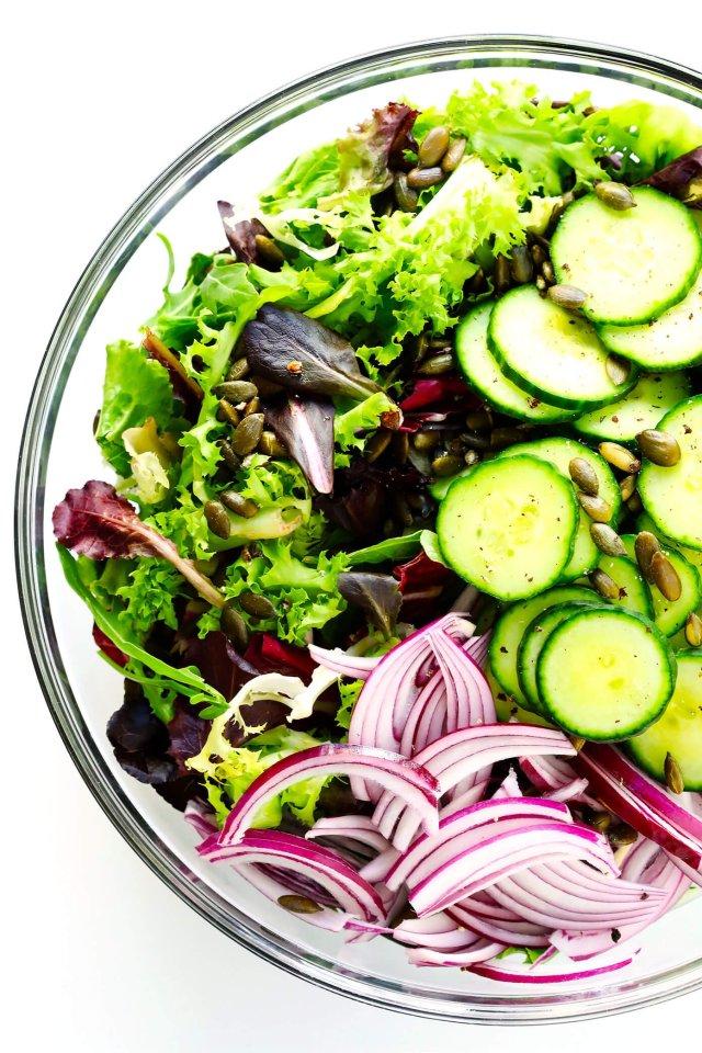 Everyday Salad Ingredients in Salad Bowl