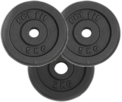 3 discos de 5 kilogramos para barra