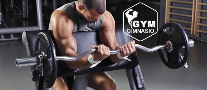 ejercicio gimnasio curl biceps con banco scott