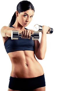 mujer musculada de gimnasio