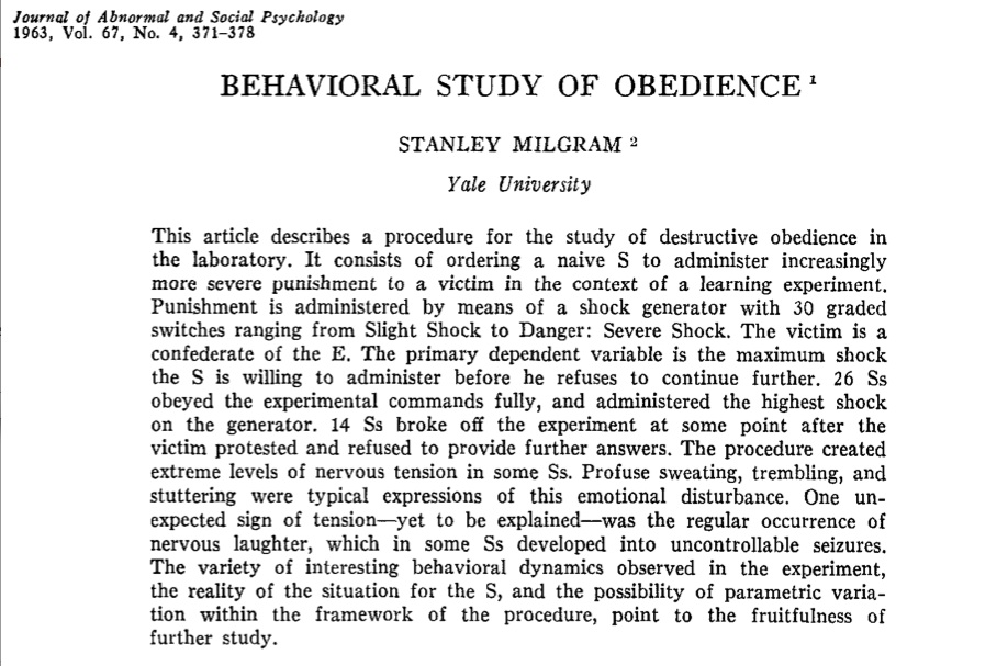 Milgram's Obedience Turns 50 Gina Perry