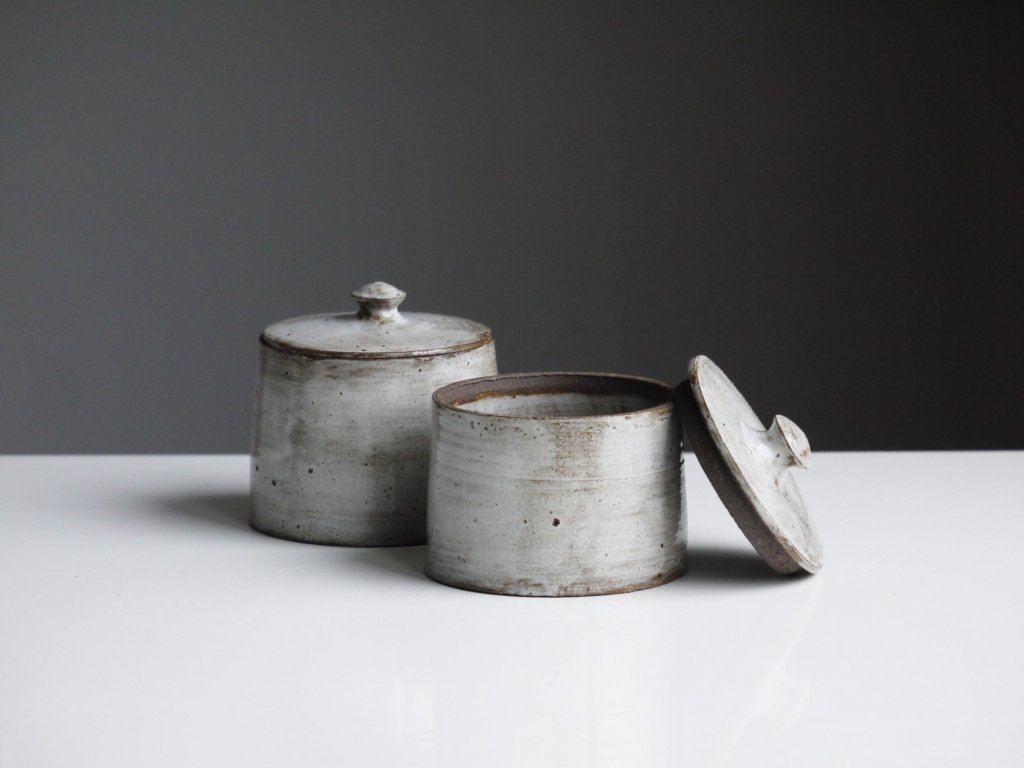 grey brown stoneware canisters with lids