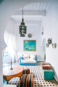 white aqua living room Moroccan vibe