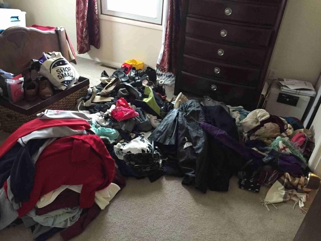 Konmari sorting clothes