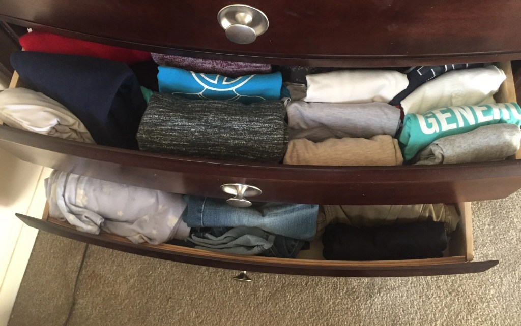 drawers 3 years after KonMari