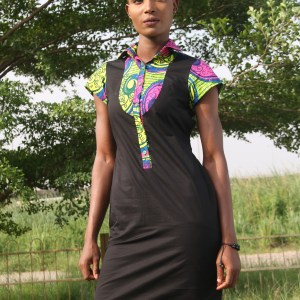 Denim and Ankara mix Dress PDF pattern
