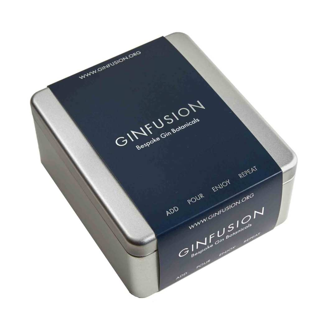 Ginfusion tin with presentation sleeve