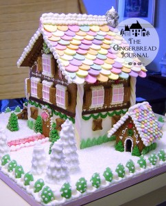 gingerbread house for Christmas pink ribbon breast cancer
