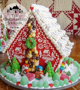 Christmas Gingerbread House Red & White
