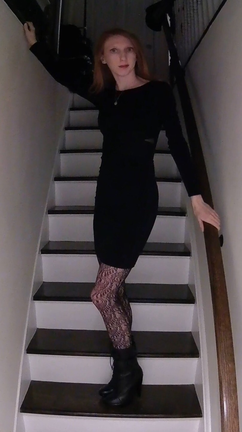 little black dress, lace tights, burberry boots