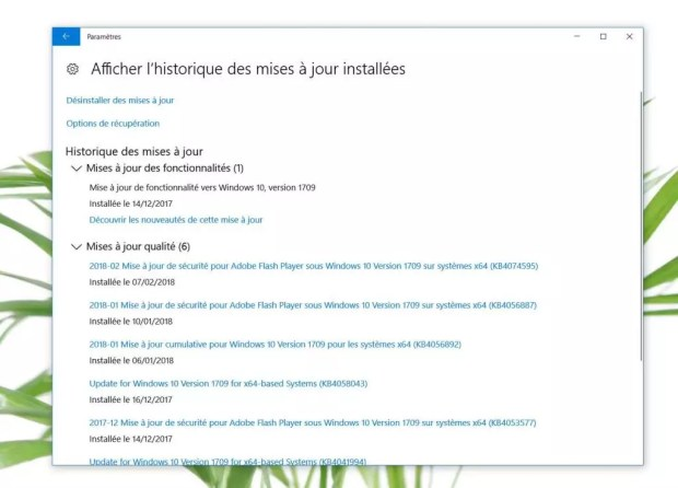 Windows 10 , « afficher l'historique des mises à jour installées » dans « Mise à jour et sécurité » de « Paramétres »