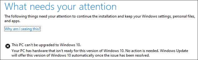 Windows 10 May 2019 Update - Message d'erreur