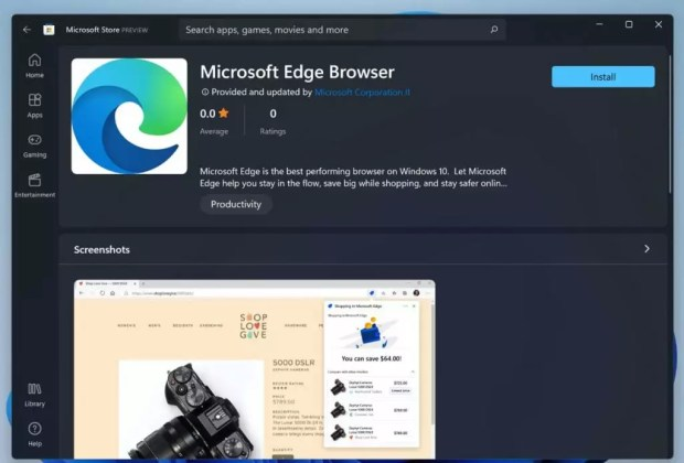 Windows 11, Microsoft Edge is available on the Microsoft Store