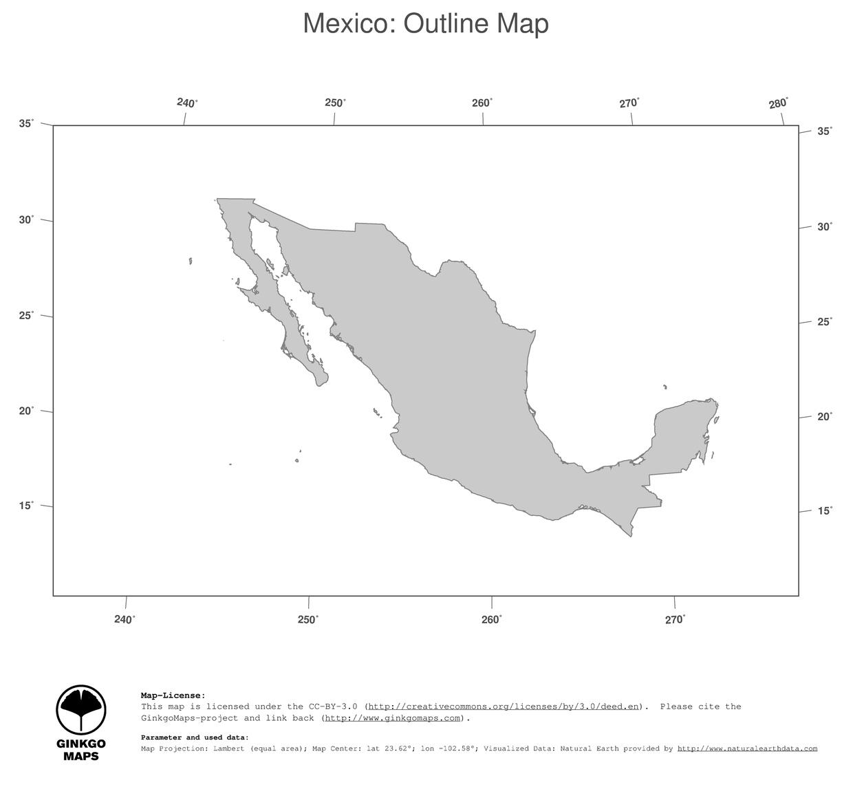 Map Mexico Ginkgomaps Continent North America Region