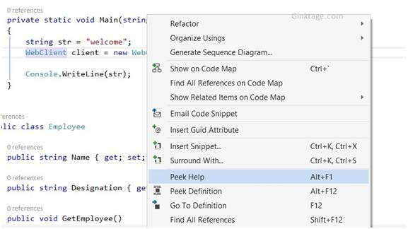 Visual Studio 2013 Tips and Tricks - Peek Help Feature with Productivity Power Tool 2013
