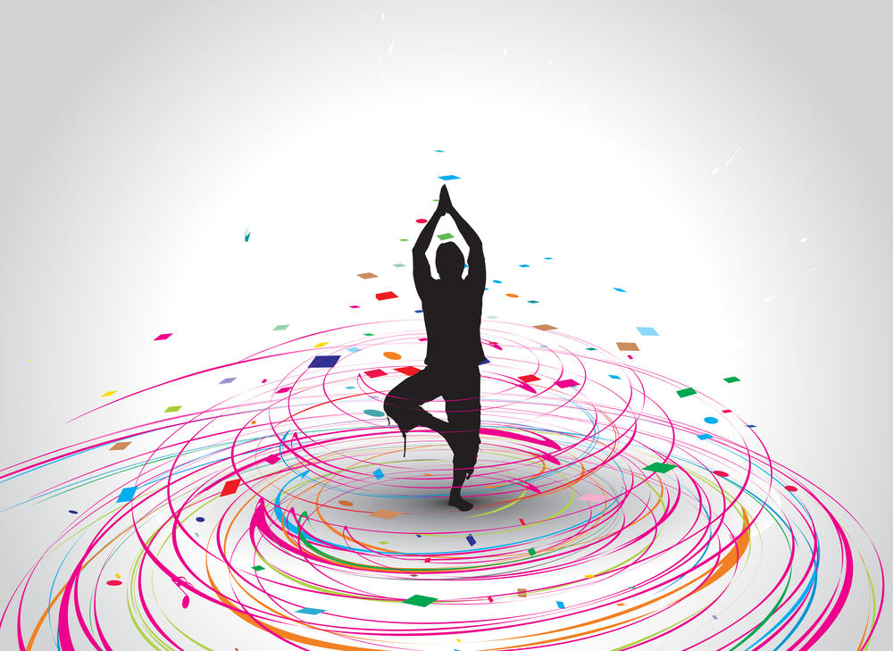 A person doing yoga silhouette in rainbow mosaic wave line , vector illustration