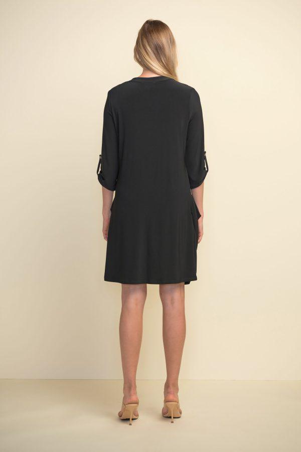 Back view Joseph Ribkoff black dress style #211238
