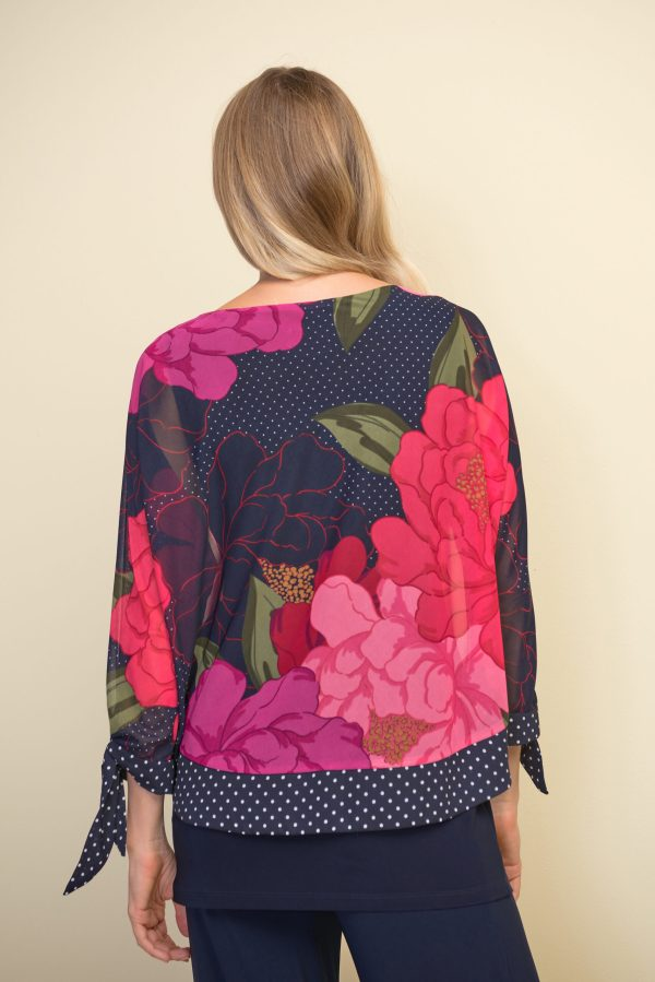 Back view of Joseph Ribkoff Pink Floral Top #211278