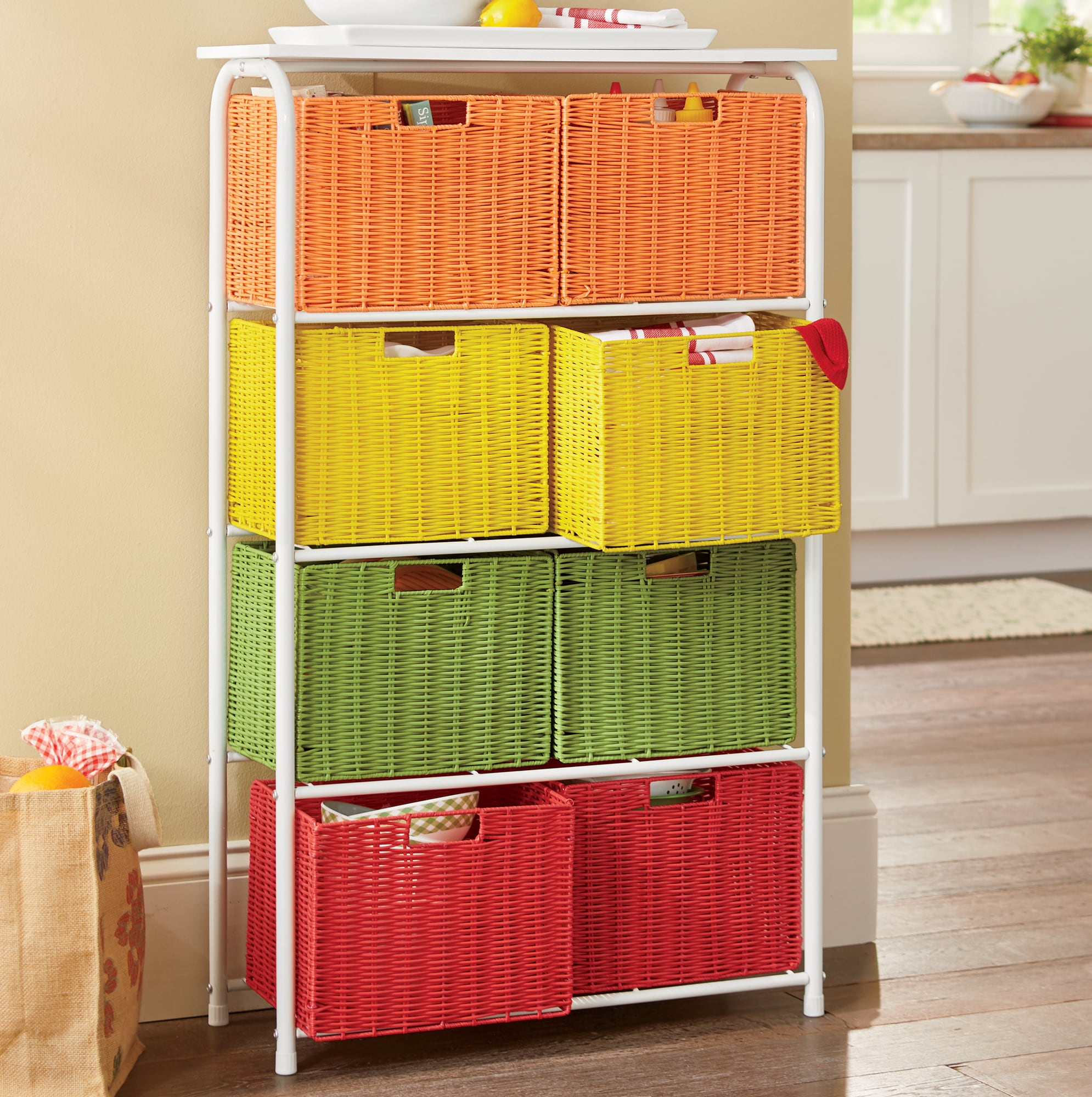 kitchen furniture sets panda cabinets dining more ginny s citrus 8 basket wide tower