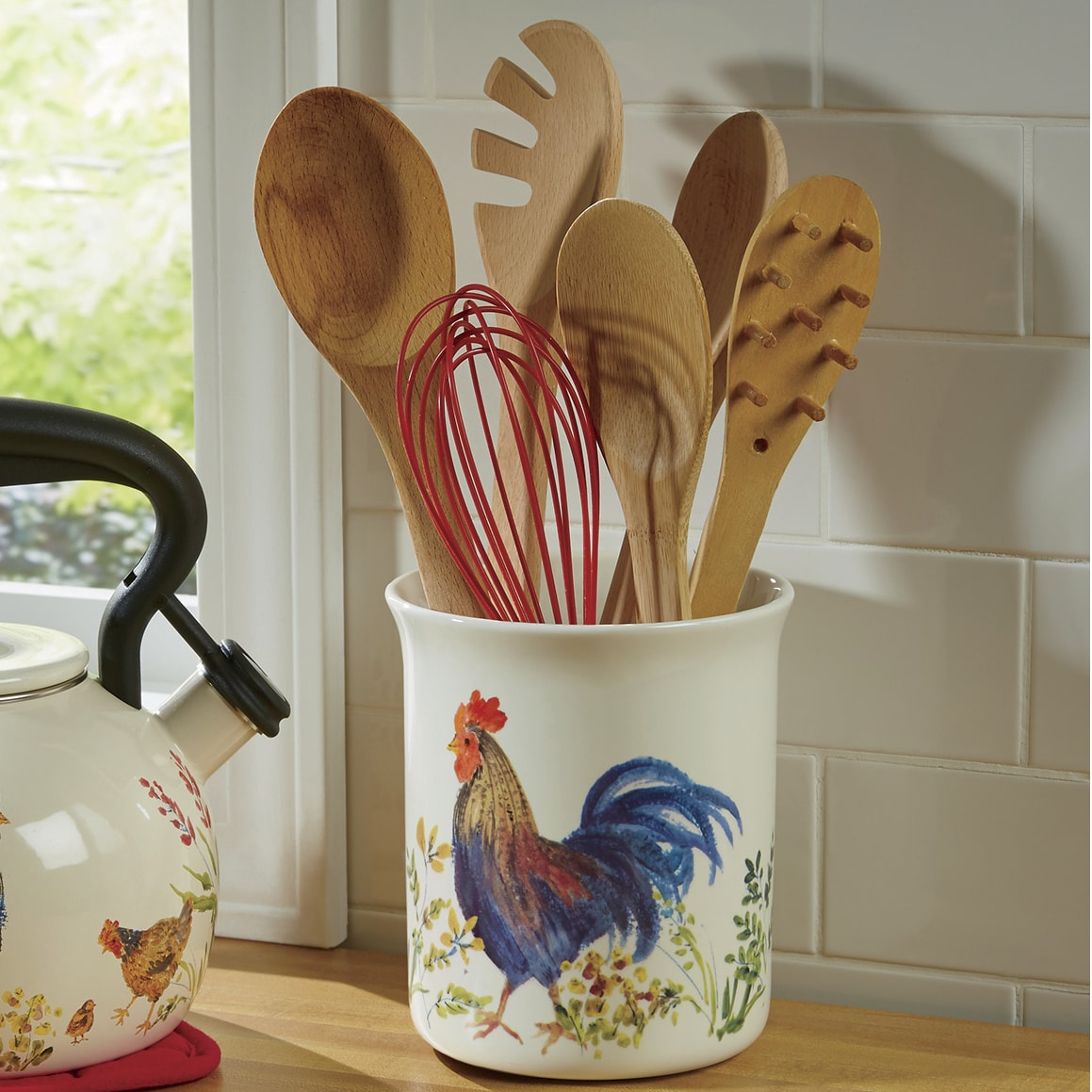 kitchen tool crock sink hole cover garden rooster by paula deen ginny s