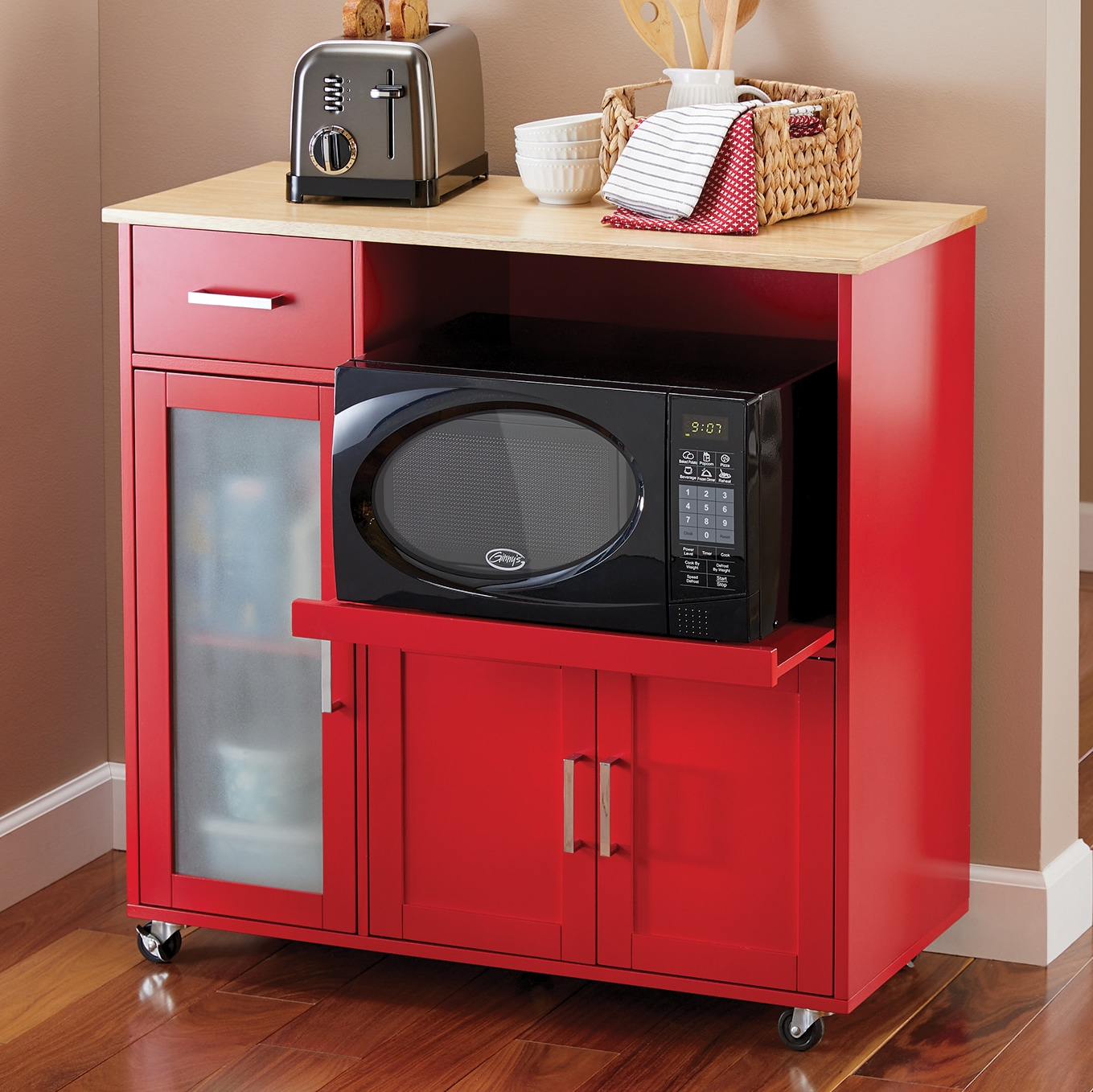kitchen furniture sets red table dining more ginny s baron microwave cart