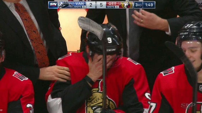 Bobby Ryan fights back tears on the bench after recording a hat trick in his return to Ottawa