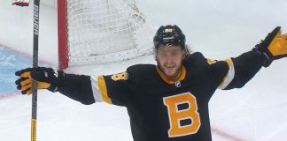 Boston Bruins forward David Pastrnak celebrates a goal