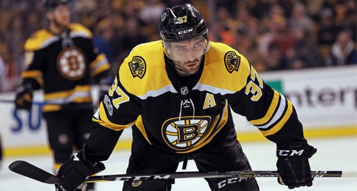 Patrice Bergeron of the Boston Bruins