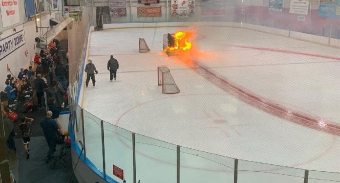 Zamboni catches on fire at hockey game in Rochester
