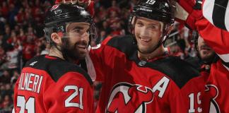 Travis Zajac and Kyle Palmieri celebrate a goal