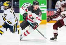 Matthew Berniers, Owen Power and Mason McTavish of the 2021 NHL Draft Class