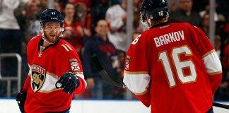 Florida Panthers' forwards Aleksander Barkov and Jonathan Huberdeau celebrate a goal